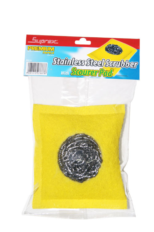 Stainless Steel Scrubber with Scourer Pad