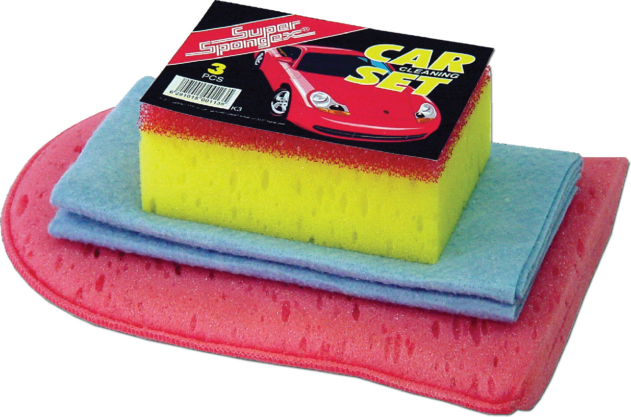 Car Cleaning set - set of car wash sponge, car wash gloves and cleaning cloth