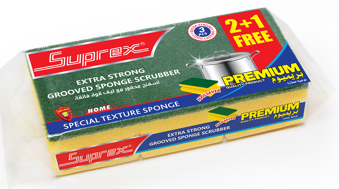 Extra Strong Grooved Sponge Scrubber