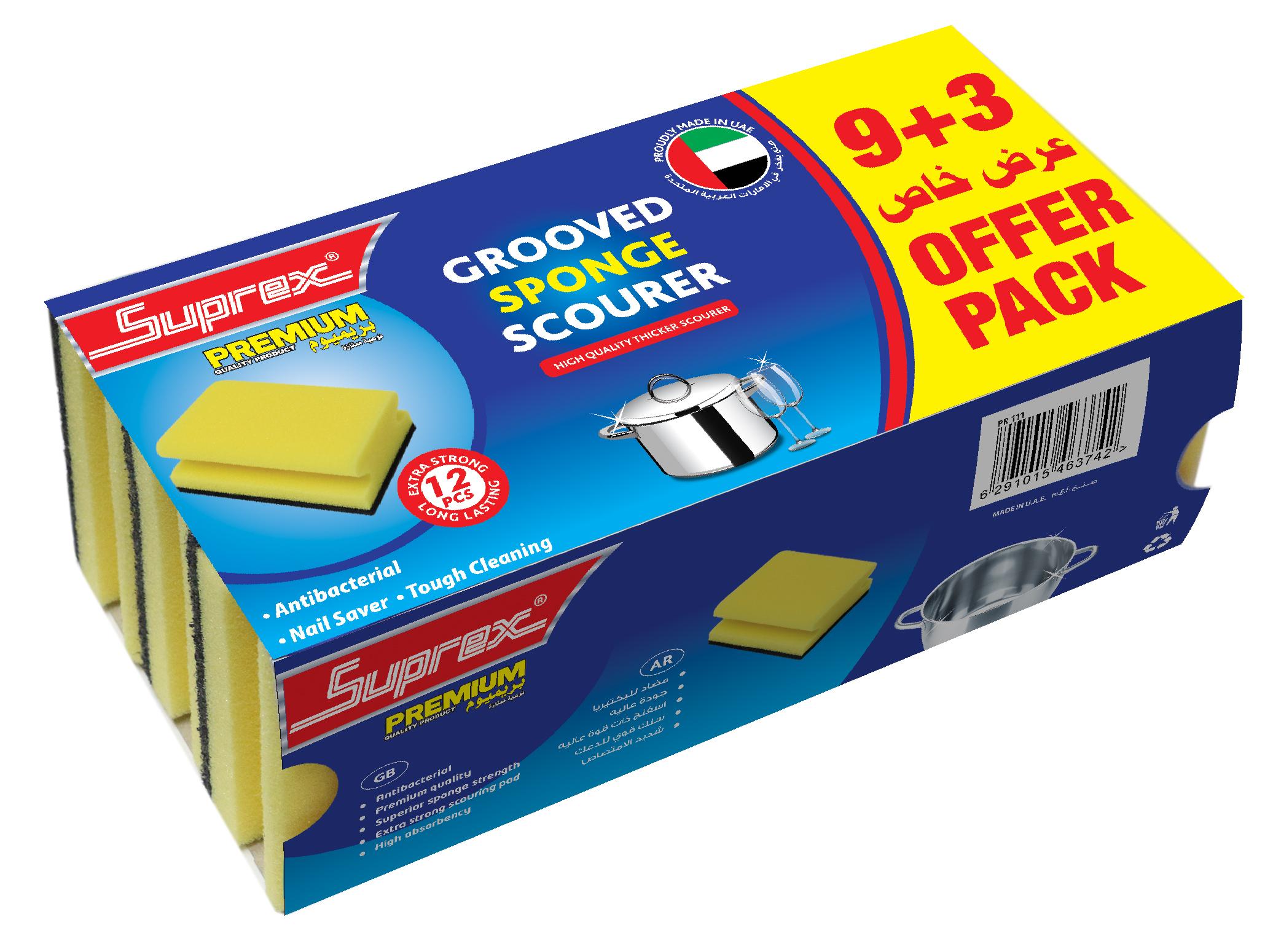 Grooved Sponge Scourer - 9+3 Offer Pack