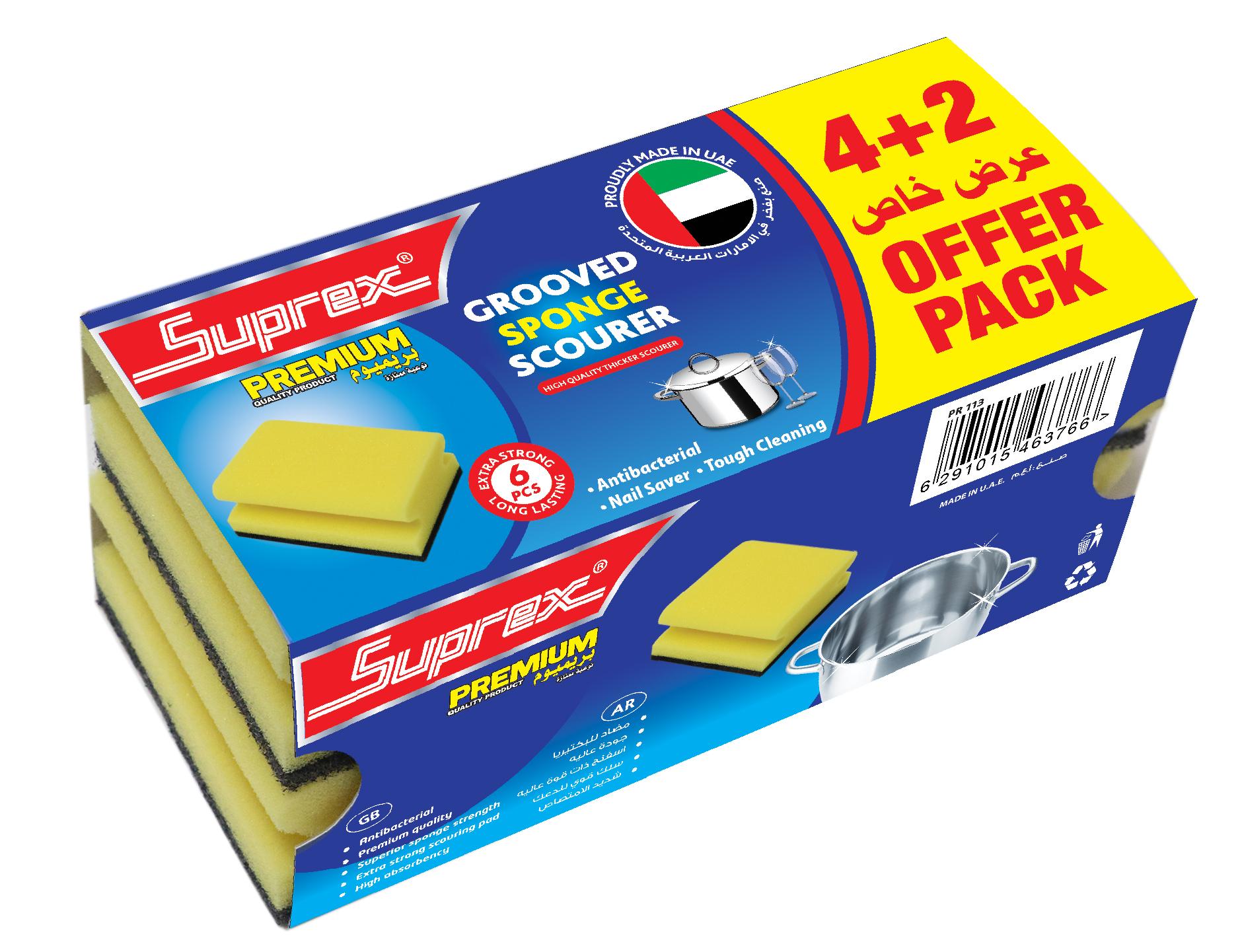 Grooved Sponge Scourer -  4+2 Offer Pack