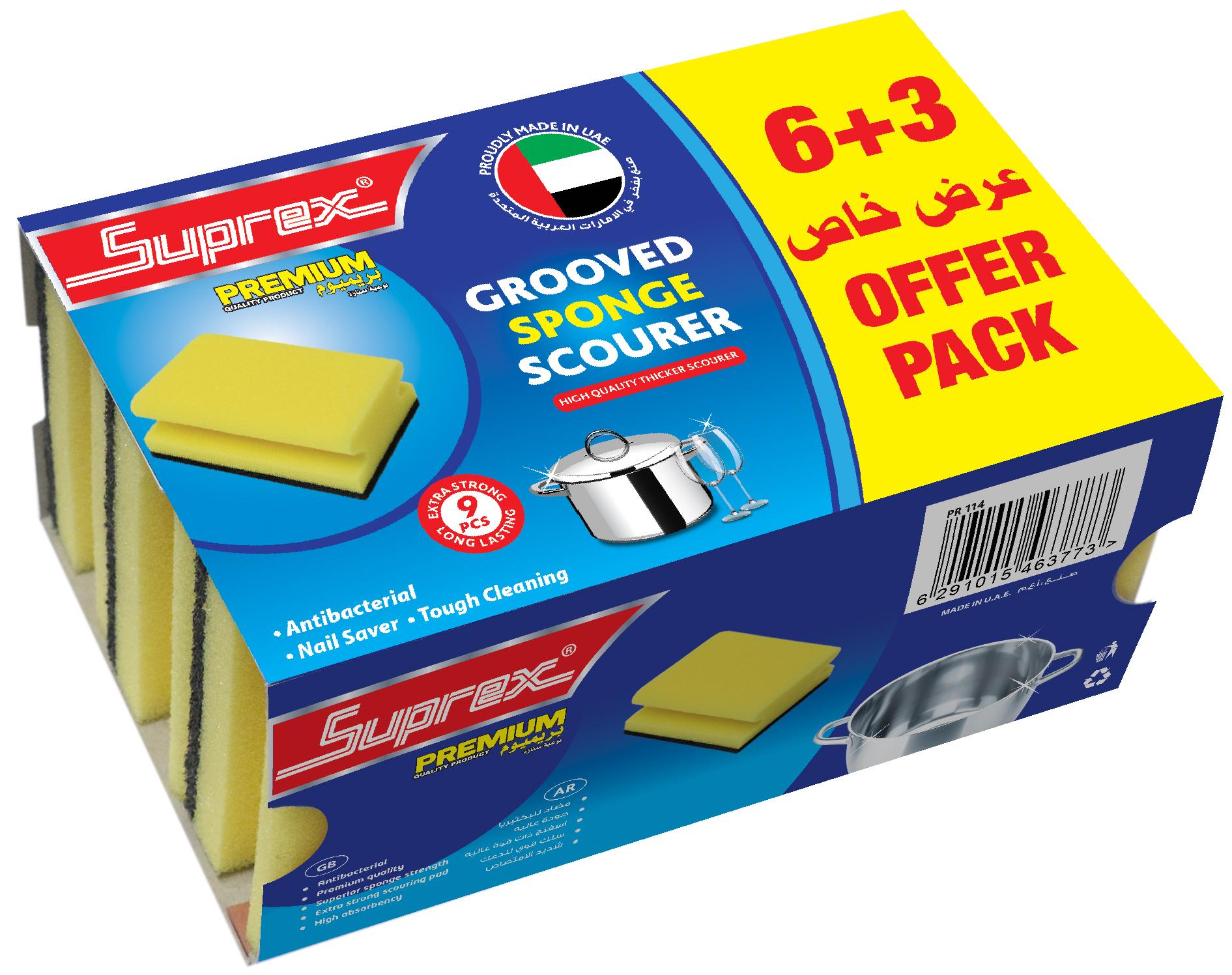 Grooved Sponge Scourer -  6+3 Offer Pack