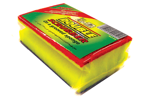 Grooved Sponge With Double Sided Scourer