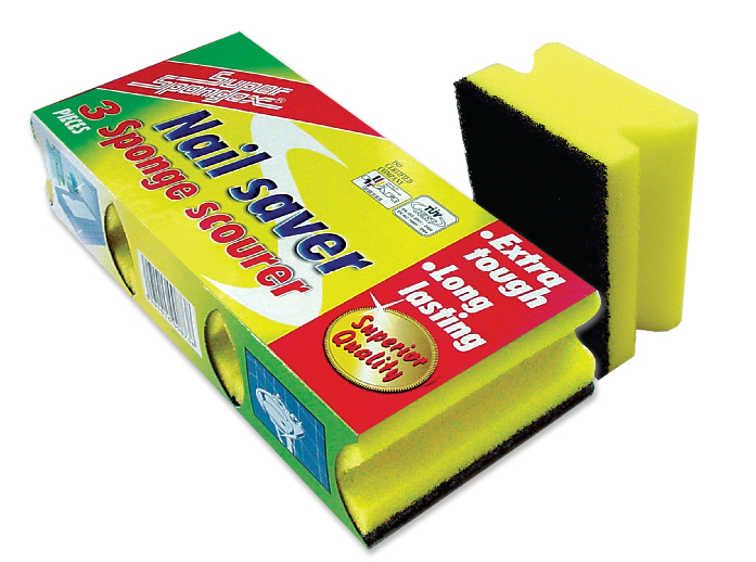Grooved Sponge Scourer in Sleeve Pack