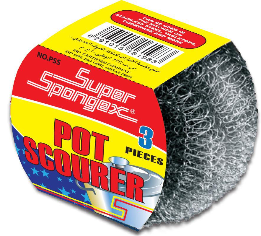 Metal Pot Scourer in Sleeve