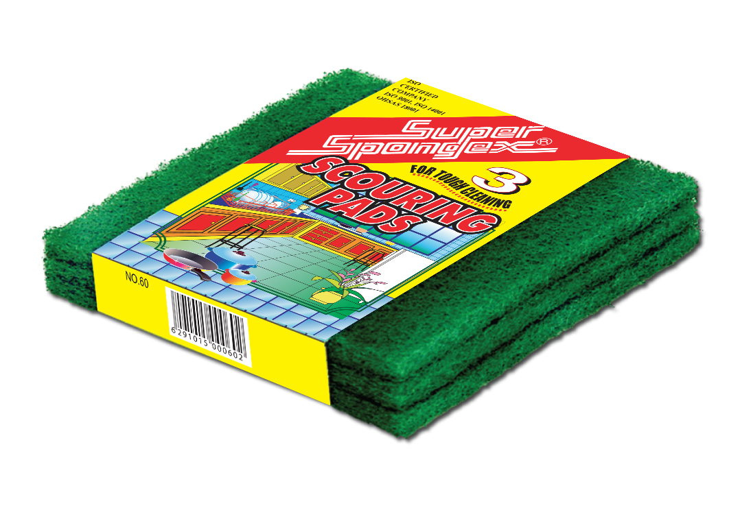 Green Scouring Pads in Sleeve